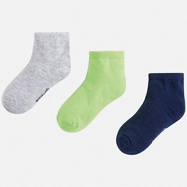 Комплект:3 пары носок Mayoral для мальчикаНоски<br>Характеристики товара:<br><br>• цвет: мульти<br>• комплектация: 3 пары<br>• состав ткани: 67% хлопок, 30% полиамид, 3% эластан<br>• сезон: круглый год<br>• страна бренда: Испания<br>• неповторимый стиль Mayoral<br><br>Такие детские носки Mayoral обеспечат ребенку комфорт и аккуратный внешний вид. Набор носков для мальчика от Майорал симпатично смотрится, они удобно сидят благодаря качественному дышащему трикотажу. Эти детские носки от испанской компании Mayoral отличаются оригинальным и стильным дизайном. <br><br>Комплект: 3 пары носков Mayoral (Майорал) для мальчика можно купить в нашем интернет-магазине.<br>Ширина мм: 87; Глубина мм: 10; Высота мм: 105; Вес г: 115; Цвет: зеленый; Возраст от месяцев: 96; Возраст до месяцев: 108; Пол: Мужской; Возраст: Детский; Размер: 33-35,24-26,30-32,27-29; SKU: 7557054;