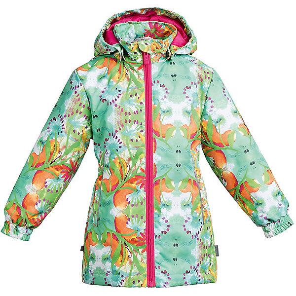 Куртка JUNE Huppa для девочекДемисезонные куртки<br>Характеристики товара:<br><br>• цвет: светло-зелёный принт; <br>• модель: June;<br>• состав: 100% полиэстер;<br>• подкладка: 100% полиэстер, тафта;<br>• утеплитель: 100% полиэстер, 100 гр.;<br>• сезон: демисезон;<br>• температурный режим: от -5 до +10С;<br>• водонепроницаемость: 10000 мм ;<br>• воздухопроницаемость:10000 г/м2/24ч;<br>• застежка: молния с защитой подбородка;<br>• съёмный капюшон на кнопках;<br>• кромка капюшона на резинке;<br>• мягкие эластичные манжеты;<br>• талия на спине на резинке;<br>• приталенный крой;<br>• два кармана на молнии;<br>• светоотражающие детали;<br>• страна бренда: Эстония;<br>• страна изготовитель: Эстония.<br><br>Утепленная куртка на молнии обеспечит детям тепло и комфорт. Куртка с капюшоном сделана из материала, отталкивающего воду, дополнена подкладкой из тафты и утеплителем, поэтому изделие идеально подходит для межсезонья. <br><br>Материал изделия - с мембранной технологией: защищает от влаги и ветра, он легко выводит лишнюю влагу наружу. Куртка дополнена мягкими эластичными манжетами. Капюшон легко отстегивается при помощи кнопок. Имеется два кармана на молнии.<br><br>Куртку JUNE от бренда Huppa (Хуппа) можно купить в нашем интернет-магазине.