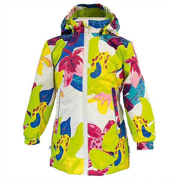 Демисезонная куртка Huppa JuneВерхняя одежда<br>Характеристики товара:<br><br>• модель: June;<br>• состав: 100% полиэстер;<br>• подкладка: 100% полиэстер, тафта;<br>• утеплитель: 100% полиэстер, 100 гр.;<br>• сезон: демисезон;<br>• температурный режим: от -5 до +10С;<br>• водонепроницаемость: 10000 мм ;<br>• воздухопроницаемость:10000 г/м2/24ч;<br>• застежка: молния с защитой подбородка;<br>• съёмный капюшон на кнопках;<br>• кромка капюшона на резинке;<br>• мягкие эластичные манжеты;<br>• талия на спине на резинке;<br>• приталенный крой;<br>• два кармана на молнии;<br>• светоотражающие детали;<br>• страна бренда: Эстония;<br>• страна изготовитель: Эстония.<br><br>Утепленная куртка на молнии обеспечит детям тепло и комфорт. Куртка с капюшоном сделана из материала, отталкивающего воду, дополнена подкладкой из тафты и утеплителем, поэтому изделие идеально подходит для межсезонья. <br><br>Материал изделия - с мембранной технологией: защищает от влаги и ветра, он легко выводит лишнюю влагу наружу. Куртка дополнена мягкими эластичными манжетами. Капюшон легко отстегивается при помощи кнопок. Имеется два кармана на молнии.