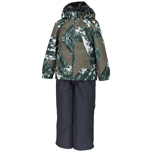 Комплект YOKO HuppaВерхняя одежда<br>Характеристики товара:<br><br>• цвет: хаки принт/тёмно-серый; <br>• модель: Yoko 1;<br>• состав: 100% полиэстер;<br>• подкладка: 100% полиэстер, тафта;<br>• утеплитель: 100% полиэстер, куртка - 100 гр., полукомбинезон – 40 гр.;<br>• сезон: демисезон;<br>• температурный режим: от -5 до +10С;<br>• водонепроницаемость: куртка 5000, брюки 10000 мм ;<br>• воздухопроницаемость: куртка 5000, брюки 10000 г/м2/24ч;<br>• ветронепродуваемый;<br>• застежка: молния с защитой подбородка, брюки на молнии и пуговице;<br>• сидельный шов проклеен;<br>• съёмный капюшон на кнопках;<br>• эластичная резинка по кромке капюшона;<br>• манжеты рукавов на мягкой эластичной резинке;<br>• регулируемый низ брючин;<br>• шнурок-утяжка со стопером по низу брючин;<br>• два прорезных кармана у куртки;<br>• съёмный мягкие эластичные подтяжки;<br>• внутренние петли для подтяжек;<br>• светоотражающие элементы;<br>• страна бренда: Эстония;<br>• страна изготовитель: Эстония.<br><br>Утепленный комплект сделан из материала, отталкивающего воду, дополнен подкладкой из тафты и утеплителем, поэтому изделие идеально подходит для межсезонья. Материал изделия - с мембранной технологией: защищает от влаги и ветра, ветронепродуваемый. Демисезонный комплект застёгивается на молнию, манжеты рукавов на мягкой эластичной резинке. Брюки со съёмными подтяжками и регулируемым низом штанин с утяжкой-стопером.<br><br>Комплект YOKO 1 от бренда Huppa (Хуппа) можно купить в нашем интернет-магазине.<br>Ширина мм: 356; Глубина мм: 10; Высота мм: 245; Вес г: 519; Цвет: зеленый; Возраст от месяцев: 84; Возраст до месяцев: 96; Пол: Унисекс; Возраст: Детский; Размер: 128,152,146,140,134; SKU: 7571408;