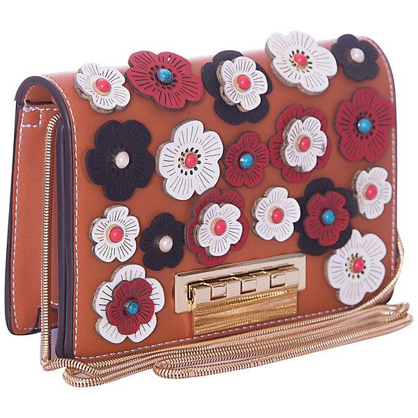 Сумка Vitacci для девочкиДетские сумки<br>Характеристики товара:<br><br>• цвет: оранжевый;<br>• внешний материал: искусственная кожа;<br>• внутренний материал: текстиль;<br>• фурнитура: металл;<br>• тип застежки: замок-защелка;<br>• модель: клатч, кросс-боди;<br>• регулируемый плечевой ремень;<br>• особенности: нашивки-цветочки, комбинируемый ремень;<br>• количество внутренних карманов: 2;<br>• количество отделений: 1;<br>• упаковка: пакет;<br>• страна бренда: Италия.<br><br>Стильная сумка-клатч от бренда Vitacci для девочки из высококачественной искусственной кожи станет отличным дополнением гардероба юной модницы.  Имеет просторное отделение и два внутренних кармана. Оснащена комбинируемым плечевым ремнем (нижняя часть - цепочка), регулируется по длине и позволяет носить сумку в разных положениях. Выполнена в ярком оранжевом цвете с красивыми нашивками в виде цветочков, хорошо держит форму.<br><br>Этот модный аксессуар отлично подойдет для прогулок и создаст неповторимый образ вашего ребенка! <br><br>Vitacci — многопрофильный российско-итальянский fashion-холдинг. Индивидуальность, подражание «взрослой» моде, современность, элегантность — всё это можно найти в детских коллекциях Vitacci.  <br><br>Сумку-клатч Vitacci для девочки  можно купить в нашем интернет-магазине.