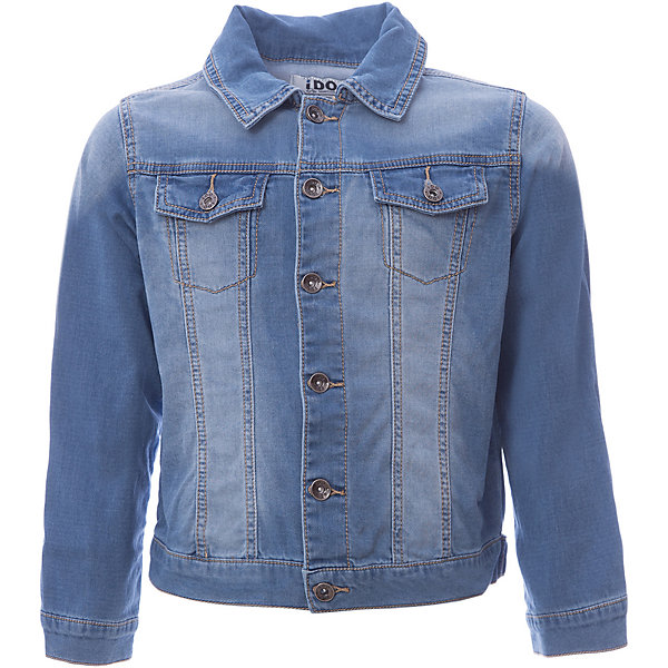 Куртка джинсовая iDO для мальчикаДжинсовая одежда<br>Характеристики товара:<br><br>• цвет: синий<br>• состав ткани: 100% хлопок<br>• сезон: демисезон<br>• особенности модели: с капюшоном<br>• застежка: молния<br>• страна бренда: Италия<br><br>Джинсовая куртка для мальчика сделана из практичного безопасного для детей материала. Такая детская куртка от известного бренда iDO из Италии поможет создать модный и удобный наряд. Куртка для детей отличается стильным кроем с отложным воротником и высоким качеством пошива.<br><br>Куртку iDO (АйДу) для мальчика можно купить в нашем интернет-магазине.