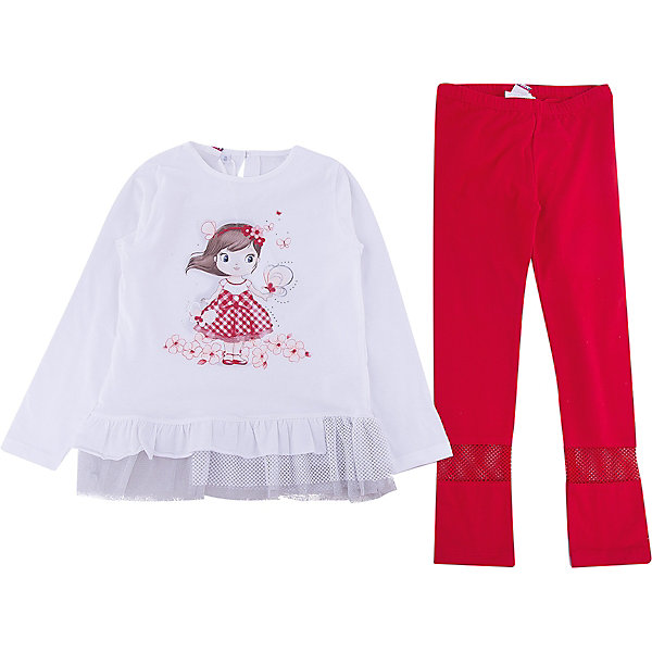 iDO Комплект: футболка с длинным рукавом, леггинсы iDO для девочки комплект из 2 леггинсов 10 16 лет