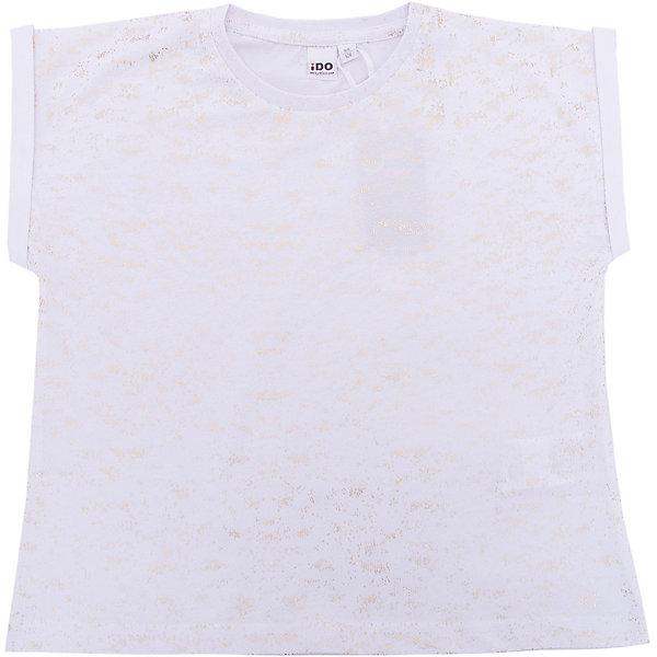 Футболка iDO для девочкиФутболки, поло и топы<br>Характеристики товара:<br><br>• цвет: белый<br>• состав ткани: 100% хлопок<br>• сезон: круглый год<br>• короткие рукава<br>• страна бренда: Италия<br><br>Модная футболка для девочки поможет создать удобный и модный наряд. Такая детская футболка отличается оригинальным силуэтом. Эта футболка для ребенка - от известного итальянского бренда iDO, который известен высоким качеством и европейским стилем выпускаемой одежды для детей. <br><br>Футболку iDO (АйДу) для девочки можно купить в нашем интернет-магазине.<br>Ширина мм: 199; Глубина мм: 10; Высота мм: 161; Вес г: 151; Цвет: белый; Возраст от месяцев: 84; Возраст до месяцев: 96; Пол: Женский; Возраст: Детский; Размер: 128,170,164,152,140; SKU: 7589432;