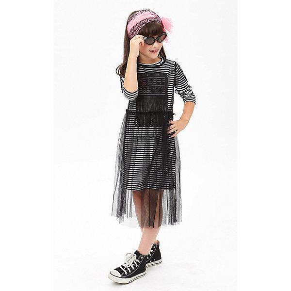 Платье iDO для девочкиНарядная одежда<br>Платье iDO для девочки<br>Стильное трикотажное платье с длинным рукавом и  тюлевым верхом. <br><br>Состав: <br>100% полиэстер - 95% хлопок 5% др.вол.<br>Ширина мм: 236; Глубина мм: 16; Высота мм: 184; Вес г: 177; Цвет: черный; Возраст от месяцев: 84; Возраст до месяцев: 96; Пол: Женский; Возраст: Детский; Размер: 128,170,164,152,140; SKU: 7589455;