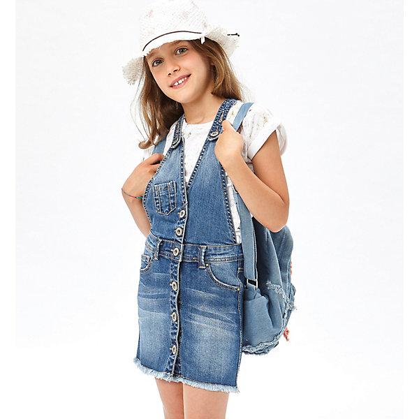 Платье iDO для девочкиПлатья и сарафаны<br>Характеристики товара:<br><br>• цвет: синий<br>• состав ткани: 97% хлопок, 3% синтетическое волокно<br>• сезон: демисезон<br>• застежка: пуговицы <br>• шлевки<br>• страна бренда: Италия<br><br>Джинсовый сарафан для детей отличается стильным силуэтом. Детский сарафан от бренда iDO из Италии - отличный вариант повседневной вещи. Удобный сарафан для девочки сшит из дышащего натурального хлопкового материала, который отлично подходит для детей. <br><br>Сарафан iDO (АйДу) для девочки можно купить в нашем интернет-магазине.<br>Ширина мм: 236; Глубина мм: 16; Высота мм: 184; Вес г: 177; Цвет: синий; Возраст от месяцев: 84; Возраст до месяцев: 96; Пол: Женский; Возраст: Детский; Размер: 128,170,164,152,140; SKU: 7589496;