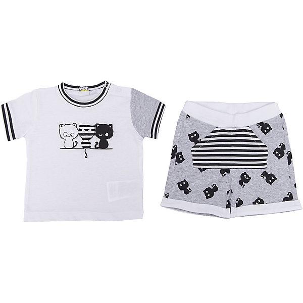 Комплект: футболка, шорты iDO для мальчикаКомплекты<br>Характеристики товара:<br><br>• цвет: белый<br>• комплектация: футболка, шорты<br>• состав ткани: 95% хлопок, 5% синтетическое волокно<br>• сезон: лето<br>• застежка: кнопки<br>• короткие рукава<br>• пояс: резинка<br>• страна бренда: Италия<br><br>Симпатичный детский комплект от известного бренда iDO из Италии обеспечит ребенку удобство. Такой стильный комплект для ребенка - это футболка и шорты. Комфортный комплект для мальчика сшит из мягкого натурального хлопкового материала, который отлично подходит детям. <br><br>Комплект: футболка, шорты iDO (АйДу) для мальчика можно купить в нашем интернет-магазине.<br>Ширина мм: 199; Глубина мм: 10; Высота мм: 161; Вес г: 151; Цвет: белый; Возраст от месяцев: 3; Возраст до месяцев: 6; Пол: Мужской; Возраст: Детский; Размер: 68,86,80,74; SKU: 7589614;
