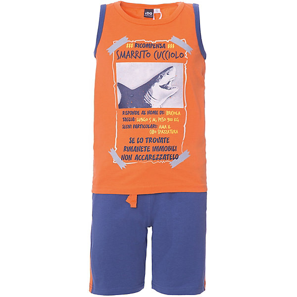 iDO Комплект: шорты, майка iDO для мальчика комплект для мальчика hudson baby якорь боди майка шорты цвет салатовый темно синий белый 55010 размер 55 61 0 3 месяца