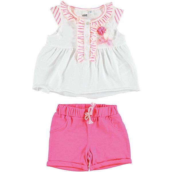 iDO Комплект: футболка, шорты iDO для девочки комплект для девочки playtoday футболка шорты цвет белый розовый зеленый 188866 размер 74