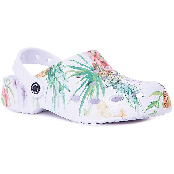 Сабо Котофей для девочкиПляжная обувь<br>Характеристики товара:<br><br>• цвет: белый принт; <br>• внешний материал: ЭВА;<br>• внутренний материал: ЭВА;<br>• стелька: ЭВА;<br>• подошва: ЭВА;<br>• сезон: лето;<br>• застёжка: ремешок на пятке;<br>• подходят для пляжа или бассейна;<br>• декорированы принтом;<br>• страна бренда: Россия;<br>• страна изготовитель: Китай.<br><br>Самая летняя и очень легкая обувь! Украшены стильным принтом. Выполнены полностью из материала ЭВА, что делает их очень лёгкими. Эти сабо прекрасно подойдут для походов в бассейн или на пляж в жаркие летние дни!<br><br>Сабо Котофей можно купить в нашем интернет-магазине.<br>Ширина мм: 225; Глубина мм: 139; Высота мм: 112; Вес г: 290; Цвет: белый; Возраст от месяцев: 108; Возраст до месяцев: 120; Пол: Женский; Возраст: Детский; Размер: 33,34,32,31,30,35; SKU: 7620773;