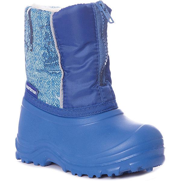 Сноубутсы Nordman для мальчикаСноубутсы<br>Характеристики товара:<br> <br>• цвет: синий;<br>• модель: Joy<br>• материал верха: текстиль, EVA;<br>• материал подкладки: 80% шерсть, 20% полиэстер;<br>• сезон: демисезон;<br>• застегиваются на молнию;<br>• подошва не скользит;<br>• утеплитель вшитый;<br>• температурный режим: от +5 до -10?С;<br>• верх с манжетой ткань Oxford;<br>• толстая устойчивая подошва;<br>• страна бренда: Россия<br><br>Сапоги Нордман для мальчика непромокаемые для пасмурной погоды, когда на дорожках  слякоть и мокрый снег.<br>Калоша сапога выполнена из материала ЭВА, который отличается водонепроницаемостью, легкостью и способностью удерживать тепло. Рифленая подошва гарантирует отличное сцепление даже с мокрой дорогой.<br>Верхняя часть - из легкой и прочной ткани Dewspo, которая имеет влагооталкивающую пропитку. Изнутри ткань дублирована поролоном.<br><br>Место соединения галоши и голенища усилено пришитой тесьмой с двойной строчкой. Средний вес пары составляет 400 граммов.<br><br> Сапоги от бренда Nordman можно купить в нашем интернет-магазине.<br>Ширина мм: 257; Глубина мм: 180; Высота мм: 130; Вес г: 420; Цвет: синий; Возраст от месяцев: 9; Возраст до месяцев: 12; Пол: Мужской; Возраст: Детский; Размер: 20/21,34/35,32/33,30/31,28/29,26/27,24/25,22/23; SKU: 7624604;