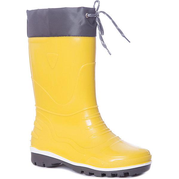 Резиновые сапоги NordmanРезиновые сапоги<br>Характеристики товара:<br><br>• цвет: желтый;<br>• модель: Step;<br>• сезон: демисезон;<br>• материал: ПВХ;<br>• материал манжеты: ткань Oxford;<br>• утеплитель: 100% полиэстер;<br>• толстая устойчивая подошва;<br>• температурный режим: от +1° до +20° С;<br>• страна бренда: Россия.<br><br>Резиновые сапоги Nordman Step предназначены для холодной осени. Промежуточный слой подошвы из вспененного ПВХ придает обуви высокие амортизирующие, теплозащитные и антистатические свойства. Сапоги имеет съемные вкладыши из нетканого полотна и водозащитные манжеты.<br><br>Обратите внимание, температурный режим зависит от активности ребенка:<br>• низкая активность от +25°С до +20°С<br>• средняя активность от +20°С до +10°С <br>• высокая активность от +10°С до   +5°С<br><br>Высокое голенище предотвращает попадание влаги или грязи в сапог. Толстая устойчивая подошва позволяет ребенку увереннее держать равновесие.<br><br>Резиновые сапоги Nordman (Нордман) можно купить в нашем интернет-магазине.<br>Ширина мм: 237; Глубина мм: 180; Высота мм: 152; Вес г: 438; Цвет: желтый; Возраст от месяцев: 48; Возраст до месяцев: 60; Пол: Унисекс; Возраст: Детский; Размер: 30,35,28,27,34,33,32,31,29; SKU: 7625329;