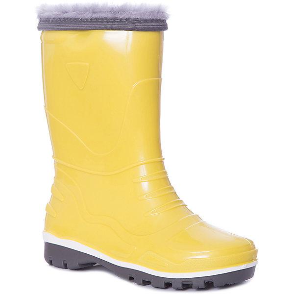 Резиновые сапоги со съемным носком Nordman StepРезиновые<br>Характеристики товара:<br><br>• цвет: желтый;<br>• модель: Step;<br>• сезон: демисезон;<br>• материал: ПВХ;<br>• материал манжеты: ткань Oxford;<br>• утеплитель: 100% полиэстер;<br>• толстая устойчивая подошва;<br>• температурный режим: от +1° до +20° С;<br>• страна бренда: Россия.<br><br>Резиновые сапоги Nordman Step предназначены для холодной осени. Промежуточный слой подошвы из вспененного ПВХ придает обуви высокие амортизирующие, теплозащитные и антистатические свойства. Сапоги имеет съемные вкладыши из нетканого полотна и водозащитные манжеты.<br><br>Обратите внимание, температурный режим зависит от активности ребенка:<br>• низкая активность от +25°С до +20°С<br>• средняя активность от +20°С до +10°С <br>• высокая активность от +10°С до   +5°С<br><br>Высокое голенище предотвращает попадание влаги или грязи в сапог. Толстая устойчивая подошва позволяет ребенку увереннее держать равновесие.<br><br>Резиновые сапоги Nordman (Нордман) можно купить в нашем интернет-магазине.