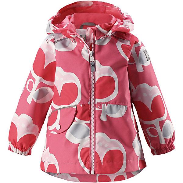 Куртка Berry Reimatec® Reima для девочкиОдежда<br>Характеристики товара:<br><br>• цвет: розовый;<br>• состав: 100% полиамид, полиуретановое покрытие;<br>• подкладка: 100% полиэстер;<br>• без дополнительного утепления;<br>• сезон: демисезон;<br>• температурный режим: от +5° до +15°С;<br>• водонепроницаемость: 15000 мм;<br>• воздухопроницаемость: 7000 мм;<br>• износостойкость: 40000 циклов (тест Мартиндейла);<br>• застёжка: молния с защитой подбородка;<br>• водо- и ветронепроницаемый, «дышащий» и грязеотталкивающий материал;<br>• водо- и грязеотталкивающая пропитка без содержания фторуглеродов BIONIC-FINISH®ECO;<br>• все швы проклеены и водонепроницаемы;<br>• гладкая подкладка из полиэстера;<br>• безопасный, съёмный капюшон;<br>• эластичные манжеты на рукавах;<br>• внутренняя регулировка обхвата  талии;<br>• карман на кнопке;<br>• светоотражающие детали;<br>• страна бренда: Финляндия.<br><br>Куртка Reimatec® станет отличным выбором на весну и осень. Все швы в этой куртке герметично запаяны, а сама она сшита из водо- и ветронепроницаемой и к тому же грязеотталкивающей ткани. Съемный капюшон обеспечит безопасность на прогулке, а регулируемая талия поможет подогнать куртку по фигуре. А в небольших карманах все найденные драгоценные камешки и шишки будут в целости и сохранности.<br><br>Куртку Reima от финского бренда Reima (Рейма) можно купить в нашем интернет-магазине.<br>Ширина мм: 356; Глубина мм: 10; Высота мм: 245; Вес г: 519; Цвет: розовый; Возраст от месяцев: 12; Возраст до месяцев: 15; Пол: Женский; Возраст: Детский; Размер: 80,98,92,86; SKU: 7628278;