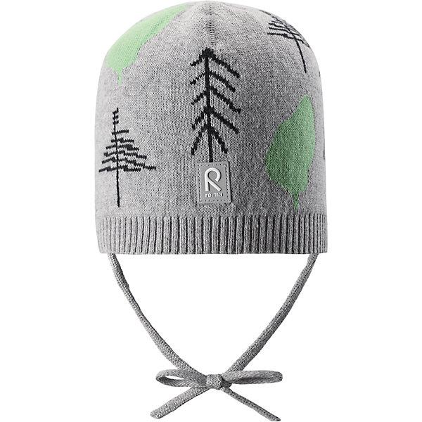 Шапка Kuohu ReimaШапки и шарфы<br>Характеристики товара:<br><br>• цвет: серый;<br>• состав: 100% хлопок;<br>• без подкладки;<br>• без дополнительного утепления;<br>• сезон: демисезон;<br>• температурный режим: от +5 до +15С;<br>• застёжка: шапка на завязках;<br>• товар сертифицирован Oeko-Tex;<br>• лёгкий стиль, без подкладки;<br>• хлопчатобумажная ткань;<br>• жаккардовая вязка;<br>• светоотражающие элементы;<br>• страна бренда: Финляндия.<br><br>Шапка из эластичного и удобного хлопкового трикотажа для малышей. Эта шапка представляет собой облегченную модель без подкладки, поэтому идеально подойдет для прохладных летних вечеров. Симпатичный рисунок отлично сочетается с расцветками курток и комбинезонов этого сезона! Шапка сертифицирована по стандарту Oeko-tex.<br><br>Шапку Reima от финского бренда Reima (Рейма) можно купить в нашем интернет-магазине.<br>Ширина мм: 89; Глубина мм: 117; Высота мм: 44; Вес г: 155; Цвет: серый; Возраст от месяцев: 9; Возраст до месяцев: 12; Пол: Унисекс; Возраст: Детский; Размер: 44,52,48; SKU: 7628820;