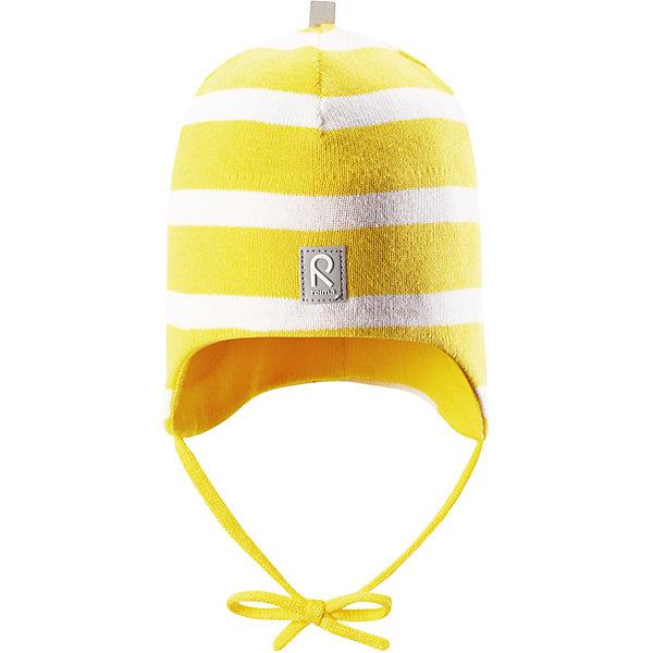 Шапка Kivi ReimaШапки и шарфы<br>Характеристики товара:<br><br>• цвет: жёлтый;<br>• состав: 100% хлопок;<br>• подкладка: хлопковый трикотаж;<br>• без дополнительного утепления;<br>• сезон: демисезон;<br>• температурный режим: от +5 до +15С;<br>• застёжка: шапка на завязках;<br>• специальный материал обеспечивает дополнительный комфорт;<br>• ветронепроницаемые вставки в области ушей;<br>• товар сертифицирован Oeko-Tex;<br>• частичная подкладка: хлопчатобумажная ткань;<br>• светоотражающие элементы;<br>• страна бренда: Финляндия.<br><br>Эта шапка для малышей надежно согреет голову ребенка в ветреную весеннюю погоду. Она сшита из эластичного хлопкового трикотажа и снабжена ветронепроницаемыми вставками в области ушей. Шапка сертифицирована по стандарту Oeko-tex.<br><br>Шапку Reima от финского бренда Reima (Рейма) можно купить в нашем интернет-магазине.<br>Ширина мм: 89; Глубина мм: 117; Высота мм: 44; Вес г: 155; Цвет: желтый; Возраст от месяцев: 9; Возраст до месяцев: 12; Пол: Унисекс; Возраст: Детский; Размер: 44,52,48; SKU: 7628824;