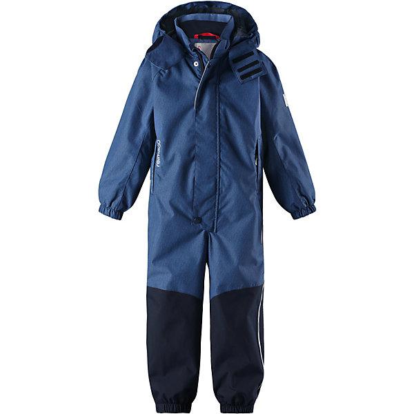 Комбинезон Tour Reimatec® Reima для мальчикаОдежда<br>Характеристики товара:<br><br>• цвет: синий;<br>• состав: 100% полиамид, полиуретановое покрытие;<br>• подкладка: 100% полиэстер;<br>• без дополнительного утепления;<br>• сезон: демисезон;<br>• температурный режим: от +5° до +15°С;<br>• водонепроницаемость: 15000/12000 мм;<br>• воздухопроницаемость: 7000/8000 мм;<br>• износостойкость: 40000/80000 циклов (тест Мартиндейла);<br>• застёжка: молния с защитой подбородка;<br>• все швы проклеены и не пропускают влагу;<br>• водо- и ветронепроницаемый, «дышащий» и грязеотталкивающий материал;<br>• водо- и грязеотталкивающая пропитка без содержания фторуглеродов BIONIC-FINISH®ECO<br>• очень прочный материал в нижней части изделия, внутренние швы отсутствуют;<br>• сетчатая подкладка вдоль тела, гладкая подкладка из полиэстера на рукавах и брючинах;<br>• безопасный съёмный и регулируемый капюшон;<br>• эластичные манжеты на рукавах и брючинах;<br>• внутренняя регулировка обхвата талии;<br>• карман со специальными креплениями для сенсора ReimaGO® в моделях 104 размера и более;<br>• два кармана на молнии;<br>• силиконовые штрипки;<br>• светоотражающие детали;<br>• страна бренда: Финляндия.<br><br>Параметры изделия:<br>• Длина внутреннего шва рукава: 33 см<br>• Длина внешнего шва рукава: 41 см<br>• Длина спинки: 58 см<br>• Ширина от плеча до плеча: 30 см<br>• Ширина спинки от подмышки до подмышки: 40 см<br>• Длинна спинки до поясницы: 38 см<br>• Обхват талии: 40 см<br>• Длина внутреннего шва брюк: 39 см<br>• Длина внешнего шва брюк: 53 см<br>• Ширина брючины внизу: 16 см<br><br>Демисезонный комбинезон Reimatec® изготовлен из высокопрочного, но мягкого и дышащего материала Reimatec®. Этот комбинезон для самых подвижных детей – ветронепроницаемый, грязеотталкивающий и абсолютно водонепроницаемый, ведь все швы в нем проклеены. Снабжен удобной сетчатой подкладкой и завязками на талии.<br><br>Нижняя часть сшита из невероятно прочного материала и без внутренних швов на концах брючин, 