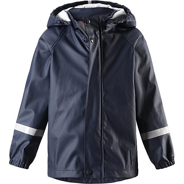 Куртка-дождевик Lampi Reima для мальчикаОдежда<br>Характеристики товара:<br><br>• цвет: синий;<br>• состав: 100% полиамид, полиуретановое покрытие;<br>• без подкладки;<br>• без дополнительного утепления;<br>• сезон: демисезон;<br>• температурный режим: от -10 до +15С;<br>• застёжка: молния с защитой подбородка;<br>• запаянные швы, не пропускающие влагу;<br>• эластичный материал;<br>• не содержит ПВХ;<br>• безопасный, съёмный капюшон;<br>• эластичные манжеты на рукавах;<br>• светоотражающие элементы;<br>• страна бренда: Финляндия.<br><br>Детская популярная куртка-дождевик Lampi стильно смотрится и гарантирует, что плечи останутся сухими. Эластичный материал не деревенеет на морозе, поэтому этот дождевик можно носить круглый год – просто добавьте в холодную погоду теплый промежуточный слой. Съемный капюшон защитит даже от ливня, при этом он безопасен во время прогулок в дождливый день. В туманный день или в темное время суток светоотражатели будут просто незаменимы. Материал сертифицирован по стандарту Oeko-Tex и не содержит ПВХ.<br><br>Куртку Reima от финского бренда Reima (Рейма) можно купить в нашем интернет-магазине.<br>Ширина мм: 356; Глубина мм: 10; Высота мм: 245; Вес г: 519; Цвет: синий; Возраст от месяцев: 12; Возраст до месяцев: 18; Пол: Унисекс; Возраст: Детский; Размер: 86,152,146,140,134,128,122,116,110,104,98,92; SKU: 7629112;