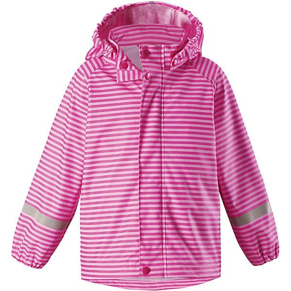 Куртка-дождевик Vesi ReimaОдежда<br>Характеристики товара:<br><br>• цвет: розовый в полоску;<br>• состав: 100% полиамид, полиуретановое покрытие;<br>• без подкладки;<br>• без дополнительного утепления;<br>• сезон: демисезон;<br>• температурный режим: от -10 до +15С;<br>• застёжка: молния с защитой подбородка;<br>• запаянные швы, не пропускающие влагу;<br>• эластичный материал;<br>• не содержит ПВХ;<br>• безопасный, съёмный капюшон;<br>• эластичные манжеты на рукавах;<br>• светоотражающие элементы;<br>• страна бренда: Финляндия.<br><br>Детская куртка-дождевик изготовлена из удобного, эластичного материала, не содержащего ПВХ. Швы запаяны и абсолютно водонепроницаемы. Куртка-дождевик не деревенеет на морозе, поэтому ее можно носить круглый год – просто добавьте в холодную погоду теплый промежуточный слой. Съемный капюшон защитит даже от ливня, при этом он безопасен во время прогулок в дождливый день. Молния спереди во всю длину и множество светоотражающих деталей. <br><br>Куртку Reima от финского бренда Reima (Рейма) можно купить в нашем интернет-магазине.<br>Ширина мм: 356; Глубина мм: 10; Высота мм: 245; Вес г: 519; Цвет: розовый; Возраст от месяцев: 48; Возраст до месяцев: 60; Пол: Унисекс; Возраст: Детский; Размер: 110,98,86,134,122; SKU: 7632310;