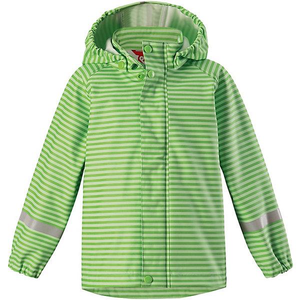 Куртка-дождевик Vesi ReimaОдежда<br>Характеристики товара:<br><br>• цвет: зелёный в полоску;<br>• состав: 100% полиамид, полиуретановое покрытие;<br>• без подкладки;<br>• без дополнительного утепления;<br>• сезон: демисезон;<br>• температурный режим: от -10 до +15С;<br>• застёжка: молния с защитой подбородка;<br>• запаянные швы, не пропускающие влагу;<br>• эластичный материал;<br>• не содержит ПВХ;<br>• безопасный, съёмный капюшон;<br>• эластичные манжеты на рукавах;<br>• светоотражающие элементы;<br>• страна бренда: Финляндия.<br><br>Детская куртка-дождевик изготовлена из удобного, эластичного материала, не содержащего ПВХ. Швы запаяны и абсолютно водонепроницаемы. Куртка-дождевик не деревенеет на морозе, поэтому ее можно носить круглый год – просто добавьте в холодную погоду теплый промежуточный слой. Съемный капюшон защитит даже от ливня, при этом он безопасен во время прогулок в дождливый день. Молния спереди во всю длину и множество светоотражающих деталей. <br><br>Куртку Reima от финского бренда Reima (Рейма) можно купить в нашем интернет-магазине.<br>Ширина мм: 356; Глубина мм: 10; Высота мм: 245; Вес г: 519; Цвет: зеленый; Возраст от месяцев: 72; Возраст до месяцев: 84; Пол: Унисекс; Возраст: Детский; Размер: 122,86,140,134,128,116,110,104,98,92; SKU: 7632343;