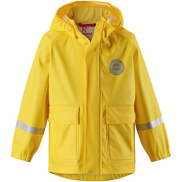 Куртка-дождевик Vihma ReimaОдежда<br>Характеристики товара:<br><br>• цвет: жёлтый;<br>• состав: 100% полиамид, полиуретановое покрытие;<br>• без подкладки;<br>• без дополнительного утепления;<br>• сезон: демисезон;<br>• температурный режим: от -10 до +15С;<br>• застёжка: молния с защитой подбородка;<br>• запаянные швы, не пропускающие влагу;<br>• эластичный материал;<br>• не содержит ПВХ;<br>• безопасный, съёмный капюшон;<br>• эластичные манжеты на рукавах;<br>• два кармана на кнопках;<br>• светоотражающие элементы;<br>• страна бренда: Финляндия.<br><br>Детская куртка-дождевик Vihma в стиле ретро гарантирует: спина и плечи останутся сухими. Эластичный материал не твердеет на морозе, поэтому этот дождевик можно носить круглый год – просто добавьте в холодную погоду теплый промежуточный слой. Съемный капюшон защитит даже от ливня, при этом он безопасен во время прогулок в дождливый день. Материал сертифицирован по стандарту Oeko-Tex и не содержит ПВХ.<br><br>Куртку Reima от финского бренда Reima (Рейма) можно купить в нашем интернет-магазине.<br>Ширина мм: 356; Глубина мм: 10; Высота мм: 245; Вес г: 519; Цвет: желтый; Возраст от месяцев: 72; Возраст до месяцев: 84; Пол: Унисекс; Возраст: Детский; Размер: 122,110,116,104,140,134,128; SKU: 7632718;