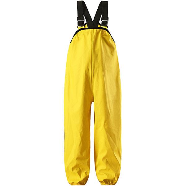Непромокаемые брюки Lammikko ReimaОдежда<br>Характеристики товара:<br><br>• цвет: жёлтый;<br>• состав: 100% полиамид, полиуретановое покрытие;<br>• без подкладки;<br>• без дополнительного утепления;<br>• сезон: демисезон;<br>• водонепроницаемость: 10000 мм;<br>• застёжка: без застёжки;<br>• запаянные швы, не пропускающие влагу;<br>• эластичный материал;<br>• без ПВХ;<br>• регулируемый обхват талии;<br>• эластичные манжеты на брючинах;<br>• съёмные эластичные штрипки;<br>• регулируемые подтяжки;<br>• светоотражающие детали;<br>• страна бренда: Финляндия.<br><br>Дети и лужи – отличное сочетание! Но только если дети хорошо защищены. Эти классические брюки для дождливой погоды гарантируют полную защиту. Материал – мягкий, но водонепроницаемый и грязеотталкивающий. К тому же он не «деревенеет» на морозе, поэтому брюки можно носить круглый год. Швы запаяны и абсолютно водонепроницаемы. Удобные эластичные подтяжки удерживают брюки во время активных игр, а штрипки не дадут брючинам задираться на голенищах резиновых сапог. Без подкладки.<br><br>Брюки Reima от финского бренда Reima (Рейма) можно купить в нашем интернет-магазине.<br>Ширина мм: 215; Глубина мм: 88; Высота мм: 191; Вес г: 336; Цвет: желтый; Возраст от месяцев: 6; Возраст до месяцев: 9; Пол: Унисекс; Возраст: Детский; Размер: 74,128,122,116,110,104,98,92,86,80; SKU: 7632981;
