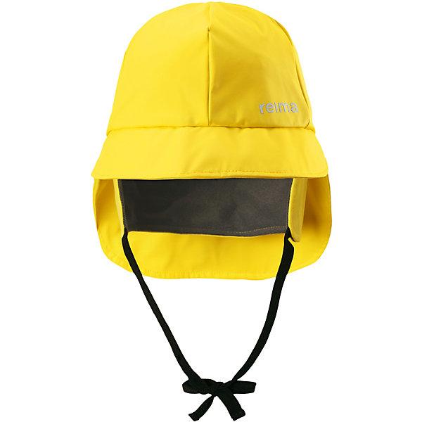 Непромокаемая шапка Rainy ReimaШапки и шарфы<br>Характеристики товара:<br><br>• цвет: жёлтый;<br>• состав: 100% полиэстер, полиуретановое покрытие;<br>• без подкладки;<br>• без дополнительного утепления;<br>• сезон: демисезон;<br>• температурный режим: от +5 до +15С;<br>• застёжка: шапка на завязках;<br>• непромокаемая шапка;<br>• запаянные швы, не пропускающие влагу;<br>• эластичный материал;<br>• не содержит ПВХ;<br>• светоотражающие элементы;<br>• страна бренда: Финляндия.<br><br>Детская непромокаемая шапка защитит ушки, шею и лицо и от небольшого дождика, и даже во время ливня. Эта легкая шапка-дождевик без подкладки изготовлена из эластичного материала, сертифицированного по стандарту Oeko-Tex и не содержит ПВХ. Запаянные швы гарантируют, что под яркую шапку не попадет ни одна дождинка!<br><br>Шапку Reima от финского бренда Reima (Рейма) можно купить в нашем интернет-магазине.<br>Ширина мм: 89; Глубина мм: 117; Высота мм: 44; Вес г: 155; Цвет: желтый; Возраст от месяцев: 18; Возраст до месяцев: 24; Пол: Унисекс; Возраст: Детский; Размер: 48,56,54,52,50; SKU: 7633578;