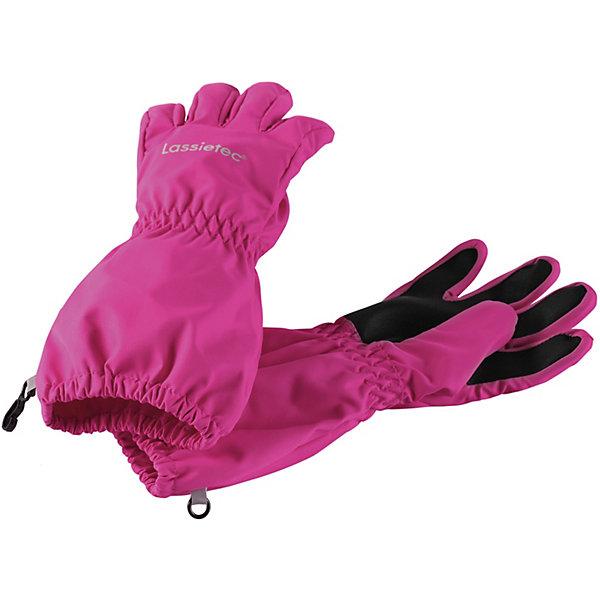 Перчатки Lassietec® LassieПерчатки<br>Характеристики товара:<br><br>• цвет: розовый;<br>• состав: 100% полиэстер, полиуретановое покрытие;<br>• подкладка: 100% полиэстер с начёсом;<br>• без дополнительного утепления;<br>• сезон: демисезон;<br>• температурный режим: +5 до +15С;<br>• водонепроницаемость: 5000 мм;<br>• воздухопроницаемость: 5000 мм;<br>• износостойкость: 20000 циклов (тест Мартиндейла);<br>• без застёжки;<br>• водо- и ветронепроницаемый, дышащий материал;<br>• усиленные накладки на ладонях и кончиках пальцев;<br>• подкладка из полиэстера с начёсом;<br>• прочный материал;<br>• светоотражающие детали;<br>• страна бренда: Финляндия.<br><br>Прочные детские демисезонные перчатки для активных любителей приключений. Эти перчатки Lassietec® изготовлены из прочного, водонепроницаемого, ветронепроницаемого и дышащего материала. Варежки снабжены водонепроницаемой мембраной, которая обеспечит вашему ребенку долгие и сухие прогулки на свежем воздухе. Трикотажная подкладка из полиэстера с начесом очень мягкая и приятная на ощупь. Усиления на ладони, кончиках пальцев и большом пальце не пропускают влагу и обеспечивают хороший захват. Сверху украшены светоотражающим принтом<br><br>Перчатки Lassie (Ласси) можно купить в нашем интернет-магазине.