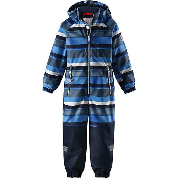 Комбинезон Kiddo Kapelli Reimatec® Reima для мальчикаВерхняя одежда<br>Характеристики товара:<br><br>• цвет: синий;<br>• состав: 100% полиамид, полиуретановое покрытие;<br>• подкладка: 100% полиэстер;<br>• утеплитель 80 гр;<br>• сезон: демисезон;<br>• температурный режим: от -10° до +5°С;<br>• водонепроницаемость: 8000/10000 мм;<br>• воздухопроницаемость: 7000/5000 мм;<br>• износостойкость: 30000/50000 циклов (тест Мартиндейла);<br>• застёжка: молния с защитой подбородка;<br>• все швы проклеены и не пропускают влагу;<br>• водо- и ветронепроницаемый, «дышащий» и грязеотталкивающий материал;<br>• водо- и грязеотталкивающая пропитка без содержания фторуглеродов BIONIC-FINISH®ECO;<br>• очень прочные усиленные вставки на штанинах;<br>• сетчатая подкладка вдоль тела, гладкая подкладка из полиэстера на рукавах и брючинах;<br>• безопасный съёмный капюшон;<br>• эластичные манжеты на рукавах и брючинах;<br>• внутренняя регулировка обхвата талии;<br>• карман со специальными креплениями для сенсора ReimaGO® в моделях 104 размера и более<br>• два кармана на молнии;<br>• прочные силиконовые штрипки;<br>• светоотражающие детали;<br>• страна бренда: Финляндия.<br><br>Детский водонепроницаемый комбинезон Reimatec® Kiddo щеголяет свежими весенними расцветками и множеством практичных деталей! Он сшит из ветронепроницаемого и дышащего материала, обладающего водо- и грязеотталкивающими свойствами. Все швы в нем герметично запаяны, поэтому даже ливень не помешает веселым играм на свежем воздухе! <br><br>Нижняя часть изготовлена из высокопрочного материала. Красивая и гладкая подкладка поможет одеться легко и быстро. Безопасный съемный капюшон легко отстегивается, если случайно за что-нибудь зацепится, а все найденные за день маленькие сокровища будут надежно спрятаны в карманах на молнии со светоотражающими элементами.<br><br>Комбинезон Reima от финского бренда Reima (Рейма) можно купить в нашем интернет-магазине.<br>Ширина мм: 356; Глубина мм: 10; Высота мм: 245; Вес г: 519; Цвет: синий
