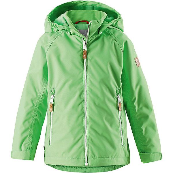 Куртка Soutu Reimatec® ReimaВерхняя одежда<br>Характеристики товара:<br><br>• цвет: зелёный;<br>• состав: 100% полиамид, полиуретановое покрытие;<br>• подкладка: 100% полиэстер;<br>• утеплитель 80 гр;<br>• сезон: демисезон;<br>• температурный режим: от -10° до +5°С;<br>• водонепроницаемость: 8000 мм;<br>• воздухопроницаемость: 7000 мм;<br>• износостойкость: 30000 циклов (тест Мартиндейла);<br>• застёжка: молния с защитой подбородка;<br>• водо- и  ветронепроницаемый, дышащий и грязеотталкивающий материал;<br>• водо- и грязеотталкивающая пропитка без содержания фторуглеродов BIONIC-FINISH®ECO;<br>• основные швы проклеены и не пропускают влагу;<br>• гладкая подкладка из полиэстера;<br>• безопасный съёмный капюшон;<br>• регулируемые манжеты и подол;<br>• карман со специальными креплениями для сенсора ReimaGO® в моделях 104 размера и более;<br>• два кармана на молнии;<br>• светоотражающие детали;<br>• страна бренда: Финляндия.<br><br>Все основные швы в этой демисезонной детской куртке Reimatec® герметично запаяны, а сама она сшита из водо- и ветронепроницаемого, грязеотталкивающего, но при этом дышащего материала. Безопасный съемный капюшон легко отстегивается, если случайно за что-нибудь зацепится, а ключи от дома будут надежно спрятаны в карманах на молнии. Благодаря регулируемым манжетам и подолу куртка хорошо прилегает к телу и не пропускает ветер.<br><br>Куртку Reima от финского бренда Reima (Рейма) можно купить в нашем интернет-магазине.<br>Ширина мм: 356; Глубина мм: 10; Высота мм: 245; Вес г: 519; Цвет: зеленый; Возраст от месяцев: 18; Возраст до месяцев: 24; Пол: Унисекс; Возраст: Детский; Размер: 92,152,146,140,134,128,122,116,110,104,98; SKU: 7636766;