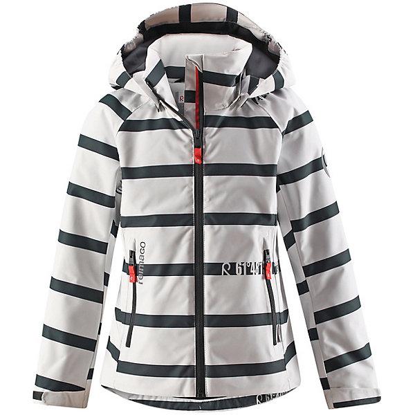 Куртка Fresia Reimatec® Reima для девочки для девочкиДемисезонные куртки<br>Характеристики товара:<br><br>• цвет: бело-синий в полоску;<br>• состав: 100% полиамид, полиуретановое покрытие;<br>• подкладка: 100% полиэстер;<br>• без дополнительного утепления;<br>• сезон: демисезон;<br>• температурный режим: от +5° до +15°С;<br>• водонепроницаемость: 15000 мм;<br>• воздухопроницаемость: 7000 мм;<br>• износостойкость: 40000 циклов (тест Мартиндейла);<br>• застёжка: молния с защитой подбородка;<br>• водо- и  ветронепроницаемый, дышащий и грязеотталкивающий материал;<br>• водо- и грязеотталкивающая пропитка без содержания фторуглеродов BIONIC-FINISH®ECO;<br>• все швы проклеены и не пропускают влагу;<br>• гладкая подкладка из полиэстера;<br>• безопасный съёмный и регулируемый капюшон;<br>• регулируемые манжеты;<br>• регулируемый подол;<br>• карман с креплениями для сенсора ReimaGO®;<br>• два кармана на молнии;<br>• светоотражающие детали;<br>• страна бренда: Финляндия.<br><br>Эта спортивная демисезонная куртка для подростков очень удобная и практичная – куда ни надень! Она изготовлена из абсолютно непромокаемого материала с проклеенными швами, поэтому обеспечивает надежную защиту в любую погоду. Благодаря грязеотталкивающей поверхности эта ветронепроницаемая демисезонная куртка очень простая в уходе. <br><br>Съемный капюшон защищает от пронизывающего ветра, к тому же он абсолютно безопасен во время активных прогулок, поскольку легко отстегнется, если вдруг за что-нибудь зацепится. Подол и манжеты регулируются, что позволяет подогнать эту куртку для девочек идеально по фигуре.<br><br>Куртку Reima от финского бренда Reima (Рейма) можно купить в нашем интернет-магазине.<br>Ширина мм: 356; Глубина мм: 10; Высота мм: 245; Вес г: 519; Цвет: белый; Возраст от месяцев: 72; Возраст до месяцев: 84; Пол: Женский; Возраст: Детский; Размер: 122,164,158,152,146,140,134,128; SKU: 7636842;