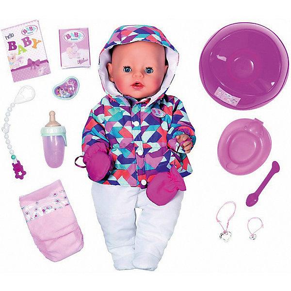 Интерактивная кукла Zapf Creation Baby Born, зимняя пора, 43 смКуклы<br>Характеристики:<br><br>• интерактивная кукла с функциональными особенностями;<br>• кукла плачет, пьет и писает;<br>• в комплекте 25 аксессуаров;<br>• разнообразие сюжетов и линий;<br>• возможность заботиться и проявлять нежность;<br>• материал: пластик, текстиль, винил;<br>• высота куклы: 43 см;<br>• размер упаковки: 43х38х21 см;<br>• вес: 1620 кг. <br><br>Функциональная куколка Baby Born обожает гулять на улице. Даже в зимнюю пору малышка с «мамочкой» идет на прогулку. Куколка одета в пеструю теплую курточку с капюшоном, ползунишки белого цвета, на ручках варежки. Чтобы кроха не капризничала на улице, девочка заботливо дает кукле игрушку-прорезыватель со специальным держателем, который крепится к одежде куколки. Если малышка устанет, она начнет капризничать и по-настоящему плакать. По щечкам побегут слезки. <br><br>После еды куколка захочет в туалет: Бебе Борн можно усадить на горшок или надеть малышке подгузник. На животе есть специальная кнопка, которая и поможет куколке сходит в туалет. Кукла Zapf Creation пьет из бутылочки, которую можно наполнить чистой водой. В комплект входят разнообразные аксессуары для яркой и насыщенной игры. <br><br>•  бутылочка;<br>•  соска с креплением;<br>•  тарелочка и ложечка для кормления;<br>•  подгузник;<br>•  горшок;<br>•  смесь для питания;<br>•  2 браслета для девочки и куклы.<br><br>Обратите внимание: батарейки приобретаются отдельно. <br><br>Интерактивная кукла Zapf Creation «Baby Born», зимняя пора, 43 см можно купить в нашем интернет-магазине.<br>Ширина мм: 180; Глубина мм: 330; Высота мм: 380; Вес г: 1650; Возраст от месяцев: 36; Возраст до месяцев: 2147483647; Пол: Женский; Возраст: Детский; SKU: 7682997;