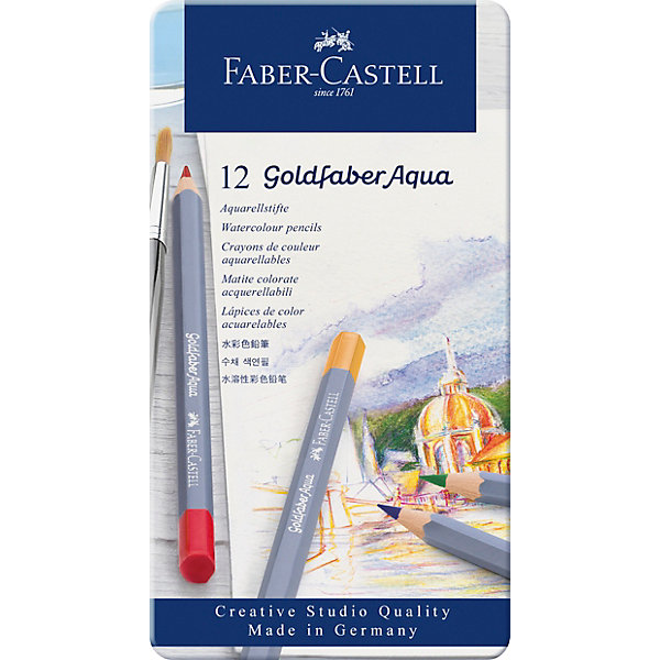 цена Faber-Castell Карандаши акварельные художественные Faber-Castell Goldfaber Aqua, 12 цветов онлайн в 2017 году