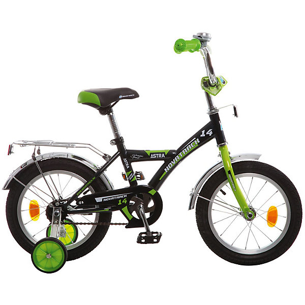 Велосипед Novatrack 14, ASTRA, чёрныйВелосипеды и аксессуары<br>Характеристики товара:<br><br>• возраст: от 3 лет;<br>• материал рамы: сталь;<br>• материал крыльев: сталь;<br>• материал обода: алюминий;<br>• диаметр колес: 14 дюймов;<br>• тип колес: резиновые;<br>• ножной тормоз;<br>• жесткая вилка;<br>• багажник;<br>• вес велосипеда: 8,8 кг;<br>• размер упаковки: 81х41х18,5 см;<br>• вес упаковки: 11 кг;<br>• страна бренда: Россия.<br><br>Велосипед Novatrack Astra 14 черный — легкий и маневренный велосипед, на котором детям от 3 лет будет легко обучаться катанию. Специально для самых юных пользователей на велосипеде предусмотрены 2 маленьких съемных колеса, которые придают ему дополнительной устойчивости. Такая конструкция позволит детям обучаться катанию и сохранять равновесие. <br><br>Велосипед имеет особую геометрию и конструкцию рамы, так чтобы детям было легко садиться на велосипед и слазить с него. Для безопасного катания предусмотрен ножной тормоз и ограничитель руля, который не даст ребенку сделать слишком крутой поворот. На цепи расположена защита, препятствующая попаданию ноги или одежды в механизм.<br><br>Велосипед Novatrack Astra 14 черный можно приобрести в нашем интернет-магазине.<br>Ширина мм: 810; Глубина мм: 185; Высота мм: 410; Вес г: 11000; Цвет: черный; Возраст от месяцев: 48; Возраст до месяцев: 72; Пол: Мужской; Возраст: Детский; SKU: 7684620;