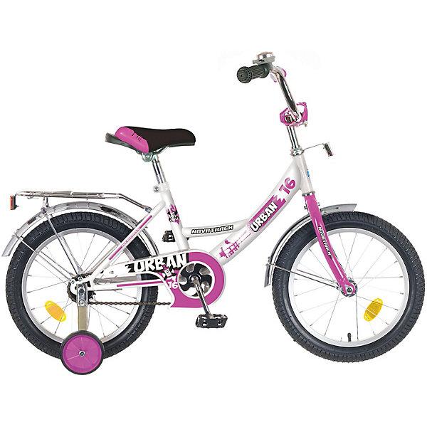 Велосипед Novatrack 14, URBAN, белыйВелосипеды и аксессуары<br>Характеристики товара:<br><br>• возраст: от 3 лет;<br>• материал рамы: сталь;<br>• материал крыльев: сталь;<br>• материал обода: алюминий;<br>• диаметр колес: 14 дюймов;<br>• тип колес: резиновые;<br>• ножной тормоз;<br>• жесткая вилка;<br>• багажник;<br>• светоотражатели;<br>• вес велосипеда: 8,8 кг;<br>• размер упаковки: 81х41х18,5 см;<br>• вес упаковки: 11 кг;<br>• страна бренда: Россия.<br><br>Велосипед Novatrack Urban 14 белый — легкий и маневренный велосипед, на котором детям легко обучаться катанию. Специально для самых юных пользователей на велосипеде предусмотрены 2 маленьких съемных колеса, которые придают ему дополнительной устойчивости. Такая конструкция позволит детям обучаться катанию и сохранять равновесие. <br><br>Для безопасного катания предусмотрен ножной тормоз и ограничитель руля, который не даст ребенку сделать слишком крутой поворот. На цепи расположена защита, препятствующая попаданию ноги или одежды в механизм. 4 светоотражающих элемента гарантируют видимость при перемещении на темной дороге. Крылья колес защищают ребенка от брызг и загрязнений.<br><br>Велосипед Novatrack Urban 14 белый можно приобрести в нашем интернет-магазине.<br>Ширина мм: 810; Глубина мм: 185; Высота мм: 410; Вес г: 11000; Цвет: белый; Возраст от месяцев: 48; Возраст до месяцев: 72; Пол: Унисекс; Возраст: Детский; SKU: 7684626;