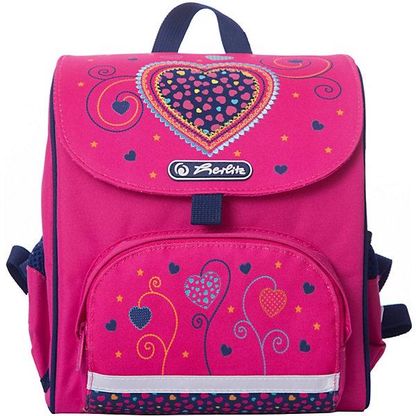 Ранец Herlitz Mini Softbag Pink Hearts, дошкольныйРанцы<br>Характеристики:<br><br>• дошкольный ранец для детей от 3 до 6 лет;<br>• эргономичная спинка;<br>• одно внутреннее отделение + 2 боковых кармана;<br>• уплотненные лямки регулируются по длине;<br>• петелька для подвешивания;<br>• светоотражающие элементы 3М на карманах и лямках;<br>• материал: полиэстер;<br>• оформление: сердечки и цветы;<br>• размер ранца: 24х26х14 см;<br>• вес: 280 г.<br><br>Дошкольный ранец для девочек выполнен в розовом цвете, оформлен в романтическом стиле и украшен сердечками. Ранец можно использовать деткам, которые занимаются спортом или ходят на дополнительные занятия. Ранец оснащен петелькой для подвешивания на крючок.  <br><br>Ранец Herlitz дошкольный Mini Softbag Pink Hearts можно купить в нашем интернет-магазине.<br>Ширина мм: 140; Глубина мм: 280; Высота мм: 240; Вес г: 280; Цвет: розовый; Возраст от месяцев: 60; Возраст до месяцев: 72; Пол: Женский; Возраст: Детский; SKU: 7685610;