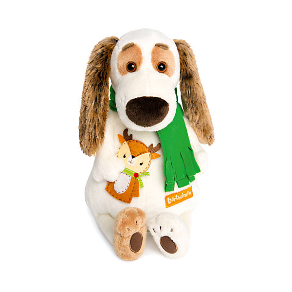 Budi Basa Мягкая игрушка Budi Basa Собака Бартоломей в шарфе и с оленем, 27 см