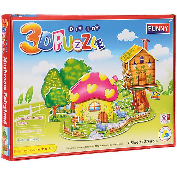 3D пазлы Funny Грибной дом, 27 деталей3D пазлы<br>Характеристики товара:<br><br>• возраст: от 3 лет;<br>• материал: ламинированный пенокартон;<br>• в комплекте: 27 деталей, инструкция;<br>• размер упаковки: 29х21х2,5 см;<br>• вес упаковки: 225 гр.<br><br>3D пазлы Funny Грибной дом -  это увлекательное хобби, в котором ребенок сможет собрать сказочный дом в форме гриба.<br><br>Помимо творческого мышления, сборка поможет развить логику, внимательность и усидчивость.<br><br>Пронумерованные детали не требуют для сборки клея и ножниц.<br><br>3D пазлы Funny Грибной дом можно купить в нашем интернет-магазине.