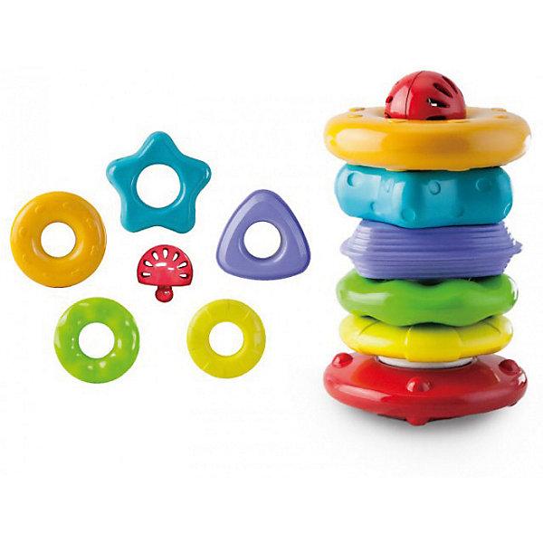 Пирамидка Собирай и катайРазвивающие игрушки<br>Характеристики:<br><br>• развивающая игрушка для детей от года;<br>• элементы рельефной формы;<br>• детали пирамидки представляют собой объемные геометрические фигуры;<br>• детали надеваются на стержень в произвольном порядке;<br>• в процессе игры развивается мелкая моторика и цветовое восприятие;<br>• комплектация: стержень, 6 цветных колец, шарик-погремушка;<br>• материал: пластик;<br>• высота пирамидки в собранном виде: 21 см;<br>• размер упаковки: 29х17х15 см;<br>• вес: 433 г.<br><br>Яркая пирамидка с элементами разнообразных форм и размеров позволяет малышу изучить цвета и геометрические фигуры. Шарик с погремушкой развивает слуховое восприятие. Рельефная поверхность деталей пирамидки развивает тактильное восприятие ребенка. <br><br>Пирамидку Little Hero «Собирай и катай» можно купить в нашем интернет-магазине.<br>Ширина мм: 275; Глубина мм: 145; Высота мм: 165; Вес г: 500; Возраст от месяцев: 0; Возраст до месяцев: 36; Пол: Унисекс; Возраст: Детский; SKU: 7686265;