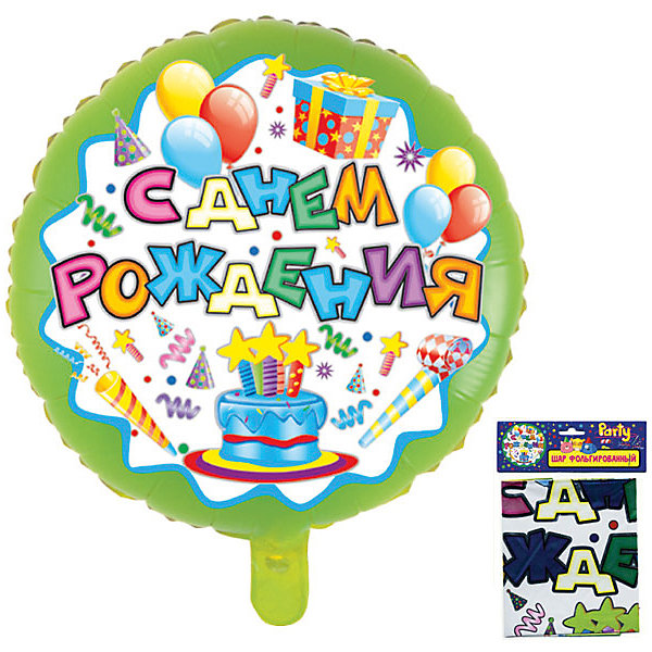 Фольгированный шар ACTION! С Днем Рождения!, 53х47смВоздушные шары<br>Характеристики товара:<br><br>• возраст: от 3 лет;<br>• упаковка: пакет с подвесом;<br>• материал: фольга;<br>• цвет: разноцветный;<br>• размер: 53х47 см;<br>• бренд: Action<br><br>Шар фольгированный «С Днем Рождения!» от бренда «Action!» станет отличным украшением любого торжества или дополнением к подарку на день рождения.<br><br>Изделие в сдутом виде нужно накачать гелием. Такое украшение прекрасно впишется в любой интерьер, поднимет настроение и подарит позитив имениннику и его гостям.<br><br>Изделие выполнено из качественных материалов и абсолютно безопасно для детей. <br><br>Шар фольгированный «С Днем Рождения!» «Action!» можно купить в нашем интернет-магазине.<br>Ширина мм: 100; Глубина мм: 10; Высота мм: 100; Вес г: 54; Возраст от месяцев: 36; Возраст до месяцев: 2147483647; Пол: Унисекс; Возраст: Детский; SKU: 7686935;