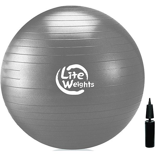 Гимнастический Мяч Lite Weights, с насосом , 85см, серебряныйФитболы<br>Характеристики:<br><br>• тип игрушки: гимнастический мяч;<br>• возраст: от 3 лет;<br>• цвет: серебряный;<br>• диаметр: 85 см;<br>• комплектация: насос в комплекте;<br>• материал: поливинилхлорид;<br>• максимальный вес пользователя: 110 кг;<br>• вес: 1,2 кг;<br>• упаковка: цветная коробка с демонстрационным окошком;<br>• бренд: Lite Weights.<br>   <br>Гимнастический Мяч Lite Weights, с насосом , 85см, серебряный является универсальным тренажером для всех групп мышц, помогает развить гибкость, исправить осанку, снимает чувство усталости в спине. Незаменим на занятиях фитнесом и лечебной физкультурой. <br><br>Главная функция мяча - снять нагрузку с позвоночника и разгрузить суставы. Существует очень немного упражнений, которые помогут прокачать мышцы вокруг позвоночного столба. Но именно гимнастические мячи способны тренировать спину и улучшать осанку, бороться с искривлениями позвоночника, в особенности у детей и подростков. <br><br>Мяч выполнен из ПВХ повышенной прочности с добавлением силикона, это так называемая антиразрывная система. Поэтому с этим мячом вы можете не бояться внезапного резкого разрыва мяча. <br><br>Гимнастический Мяч Lite Weights, с насосом , 85см, серебряный можно купить в нашем интернет-магазине.<br>Ширина мм: 250; Глубина мм: 80; Высота мм: 250; Вес г: 1400; Возраст от месяцев: 36; Возраст до месяцев: 2147483647; Пол: Унисекс; Возраст: Детский; SKU: 7687408;