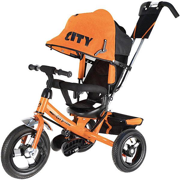 Трехколесный велосипед City, оранжевыйВелосипеды и аксессуары<br>Характеристики товара:<br> <br>• возраст: от 1 года;<br>• максимальная нагрузка: до 30 кг;<br>• материал: пластик, металл, полиэстер;<br>• регулировка ручки-толкателя от 104 до 108 см;<br>• регулировка наклона спинки в 3 позициях;<br>• 5-ти точечные ремни безопасности;<br>• солнцезащитный тент;• складные подножки;• тип колес: надувные резиновые;<br>• диаметр переднего колеса: 12 дюймов, заднего колеса: 10 дюймов;<br>• стояночный тормоз;• размер велосипеда: 102х51х85 см;• вес велосипеда: 9,3 кг;<br>• размер упаковки: 60х30х41 см;<br>• вес упаковки: 12,4 кг.<br> <br>Трехколесный велосипед — оригинальное транспортное средство для прогулок на свежем воздухе. Велосипед оснащен удобным сидением, ручкой для родителей и тентом для защиты от солнечных лучей и непогоды. Когда малыш только учится кататься, родители могут контролировать его движения при помощи ручки-толкателя.<br> <br>Спинка сидения опускается в 3 положениях, позволяя подобрать оптимальное для ребенка. В сидении он фиксируется ремнем безопасности и перекладиной. Для самых маленьких есть складные подножки, чтобы ножки не свисали. Большие надувные колеса отличаются хорошей проходимостью и обеспечивают ровный ход.<br> <br>На руле звоночек, при помощи которого ребенок сможет предупреждать прохожих о своем передвижении. На ручке-толкателе есть небольшая сумочка для мелочей, а за сидением пластиковая корзинка для вещей или игрушек.<br> <br>Трехколесный велосипед  оранжевый можно приобрести в нашем интернет-магазине.<br>Ширина мм: 600; Глубина мм: 300; Высота мм: 410; Вес г: 12400; Цвет: оранжевый; Возраст от месяцев: 12; Возраст до месяцев: 36; Пол: Унисекс; Возраст: Детский; SKU: 7688216;