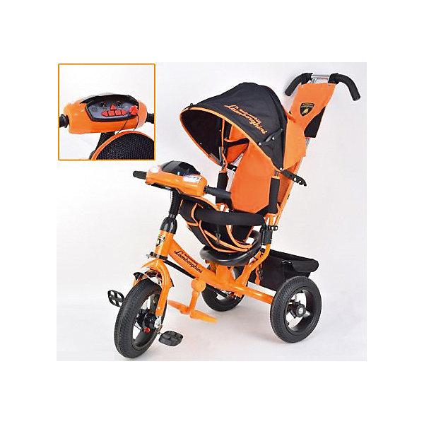 Трехколесный велосипед Lamborghini, оранжевыйВелосипеды и аксессуары<br>Характеристики товара:<br><br>• возраст: от 1 года;<br>• максимальная нагрузка: до 30 кг;<br>• материал: пластик, сталь;<br>• регулировка наклона спинки в 3 позициях;<br>• 5-ти точечные ремни безопасности;<br>• съемный бампер;<br>• солнцезащитный капюшон;<br>• фара со световыми и звуковыми эффектами;<br>• складные подножки;<br>• тип колес: надувные резиновые;<br>• диаметр переднего колеса: 12 дюймов, заднего колеса: 10 дюймов;<br>• тормоз на задних колесах;<br>• свободный ход переднего колеса;<br>• вес велосипеда: 11 кг;<br>• размер упаковки: 62х40х28 см;<br>• вес упаковки: 12,6 кг.<br><br>Трехколесный велосипед Lamborghini L2 оранжевый — оригинальное транспортное средство для прогулок на свежем воздухе. Велосипед оснащен удобным сидением, ручкой для родителей и тентом для защиты от солнечных лучей и непогоды. Когда малыш только учится кататься, родители могут контролировать его движения при помощи ручки-толкателя. Затем велосипед можно трансформировать в обычный трехколесный велосипед.<br><br>Спинка сидения опускается в 3 положениях, позволяя подобрать оптимальное для ребенка. В сидении он фиксируется ремнем безопасности и перекладиной. Для самых маленьких имеются складные подножки, чтобы ножки не свисали. Крыша-тент регулируется по высоте в 2 позициях при помощи застежек, а также может быть полностью убрана. Большие надувные колеса отличаются хорошей проходимостью и обеспечивают ровный ход.<br><br>На ручке-толкателе есть маленькая сумочка для мелочей, а за сидением большая корзинка для вещей или игрушек. Спереди на руле расположены кнопки, активирующие световые и звуковые эффекты. Во время движения слышны звуки, похожие на мотор автомобиля. В темное время ребенок может включить фару, подсвечивая дорогу себе или родителям.<br><br>Трехколесный велосипед Lamborghini L2 оранжевый можно приобрести в нашем интернет-магазине.<br>Ширина мм: 620; Глубина мм: 280; Высота мм: 400; Вес г: 12600; Цвет: ора