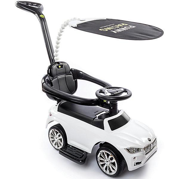 Машина-каталка Happy Baby JEEPSY,белаяКаталки для малышей<br>Характеристики:<br><br>• детский транспорт;<br>• функциональная каталка с родительской ручкой;<br>• страховочные обода для безопасности ребенка;<br>• детский руль с клаксоном, световые и звуковые эффекты;<br>• откидное сиденье, под которым багажное отделение;<br>• подножки для ножек малыша расположены по бокам каталки;<br>• защитный тент от солнечных лучей можно снять;<br>• вес ребенка: до 30 кг;<br>• возраст ребенка: от 12 месяцев;<br>• размер каталки: 68х44х90 см;<br>• высота ручки: 90 см;<br>• вес: 4,8 кг;<br>• материал: пластик;<br>• цвет: белый;<br>• размер упаковки: 66,5х35х28,5 см.<br><br>Универсальная каталка 2в1 – отличная альтернатива 3-х колесному велосипеду. Пока ребенок маленький, каталка используется как велосипед: имеется родительская ручка для управления, подножки для малыша, страховочный обод для безопасности. <br><br>На каждом этапе взросления ребенка снимаются отдельные элементы каталки и транспортное средство таким образом превращается в машинку-каталку. Малыш отталкивается ножками от земли и самостоятельно набирает разгон, тренируя при этом физические навыки, двигательную активность и координацию движений. <br><br>Сиденье каталки имеет эргономическую форму, высокая спинка с анатомическими вкладками снижает нагрузку на позвоночник малыша. Тент от солнца на гибкой подвеске защищает малыша от УФ-излучения. Каталка Jeepsy представлена в белом цвете, хромовые диски колес серебристые, держатель тента выполнен в тон автомобиля. <br><br>Машину-каталку Happy Baby «Jeepsy», цвет белый можно купить в нашем интернет-магазине.<br>Ширина мм: 665; Глубина мм: 350; Высота мм: 285; Вес г: 5800; Цвет: белый; Возраст от месяцев: 12; Возраст до месяцев: 60; Пол: Унисекс; Возраст: Детский; SKU: 7688422;