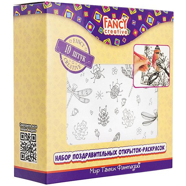 Набор открыток-раскрасок Fancy Creative Веселые принтыРаскраски для детей<br>Характеристики:<br><br>• раскраски-антистресс;<br>• черно-белые контуры рисунков;<br>• тема набора: птицы, ракушки, цветы, бабочки, котята, рыбки, сердечки;<br>• в комплекте 10 листов;<br>• материал: бумага, картон;<br>• тип упаковки: картонная коробка;<br>• размер упаковки: 14х14 см.<br><br>Отвлечься от неприятных мыслей и окунуться в мир творчества поможет набор раскрасок «Веселые принты». Рисунки оформлены в виде мелких зон для раскрашивания. Выполнение столь кропотливой работы направлено на восстановление гармонии с самим собой и миром, погружение в творческий мир равновесия и покоя.  <br><br>Набор открыток-раскрасок Fancy Creative «Веселые принты» можно купить в нашем интернет-магазине.<br>Ширина мм: 140; Глубина мм: 30; Высота мм: 140; Вес г: 187; Цвет: белый; Возраст от месяцев: 36; Возраст до месяцев: 2147483647; Пол: Унисекс; Возраст: Детский; SKU: 7701554;