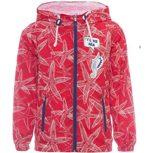 Куртка BOOM by Orby для девочкиВерхняя одежда<br>Характеристики товара:<br><br>• цвет: красный/принт;<br>• ткань верха: таффета принт pu milky (100% ПЭ);<br>• подкладка: поликоттон, ПЭ пуходержащий (90% хлопок, 10% ПЭ);<br>• сезон: демисезон;<br>• температурный режим: от +10°С;<br>• эластичные манжеты;<br>• два кармана;<br>• дополнительная утяжка по низу изделия; <br>• особенности: на молнии, нашивка на груди, принт;<br>• тип куртки: ветровка;<br>• капюшон: с утяжкой на шнурке, несъемный;<br>• страна бренда: Россия.<br><br>Ветровка BOOM by Orby для девочки -  универсальный вариант и для прохладного летнего вечера, и для теплого межсезонья, дополнена мягкой хлопковой подкладкой.  Непромокаемая ткань прекрасно защитит от теплого летнего ветерка или моросящего дождика. Легкая, яркая ветровка идеально сочетается с вещами в стиле casual: джинсы или брюки чинос, полуботинки и шапки-бини. Стильный дизайн, комфорт и принт  морские звезды  непримерно понравятся вашей моднице. <br><br>Ветровку BOOM by Orby (Бум бай Орби) для девочки можно купить в нашем интернет-магазине.<br>Ширина мм: 356; Глубина мм: 10; Высота мм: 245; Вес г: 519; Цвет: красный; Возраст от месяцев: 12; Возраст до месяцев: 18; Пол: Женский; Возраст: Детский; Размер: 86,158,152,140,146,134,128,122,116,110,104,98,92; SKU: 7708445;