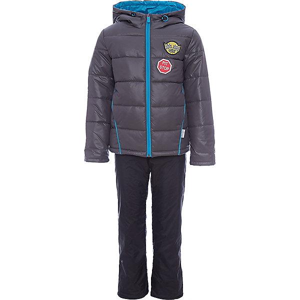 Комплект BOOM by Orby для мальчикаВерхняя одежда<br>Характеристики товара:<br><br>• цвет: графит/ черный;<br>• ткань верха (куртка): болонь pu (100% ПЭ);<br>• ткань верха (п/комбинезон):  таффета pu milky (100% ПЭ);<br>• подкладка (куртка): поликоттон; ПЭ пуходержащий (90% хлопок, 10% ПЭ);<br>• подкладка (п/комбинезон): флис; ПЭ пуходержащий (70% вискозак, 30% ПЭ);<br>• утеплитель: Flexy Fiber 150 г/м2;<br>• сезон: демисезон;<br>• температурный режим: от -5 до +10°С;<br>• высокая горловина;<br>• нашифки на груди;<br>• принт на спине;<br>• светоотражающие элементы;<br>• эластичные манжеты;<br>• два кармана;<br>• манжеты-отвороты;<br>• тип куртки: стеганая;<br>• капюшон: съемный, утяжка на шнурке;<br>• страна бренда: Россия.<br><br>Комплект: куртка и полукомбинезон  BOOM by Orby для мальчика выполнен из практичной, качественной и износостойкой ткани, болонь и таффета с водоотталкивающими пропитками. Идеален на  межсезонье, в актуальных цветах с темой гонок в дизайне. Манженты-отвороты на курточке и брючках помогут комплекту прослужить не один сезон.  Гипоаллергенный утеплитель куртки защитит в прохладную погоду. Комплект подойдет и для прогулок и для школы/сада. <br><br>Комплект: куртку и полукомбинезон  BOOM by Orby для мальчика можно купить в нашем интернет-магазине.<br>Ширина мм: 356; Глубина мм: 10; Высота мм: 245; Вес г: 519; Цвет: серый; Возраст от месяцев: 12; Возраст до месяцев: 18; Пол: Мужской; Возраст: Детский; Размер: 86,122,116,110,104,98,92; SKU: 7708770;