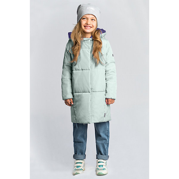 Пальто BOOM by Orby для девочкиВерхняя одежда<br>Характеристики товара:<br><br>• цвет: мятный/сиреневый;<br>• ткань верха: твил (100% ПЭ);<br>• подкладка: поликоттон; ПЭ пуходержащий (90% хлопок, 10% ПЭ);<br>• утеплитель: Flexy Fiber 150 г/м2;<br>• сезон: демисезон;<br>• температурный режим: от -5 до +10°С;<br>• два кармана;<br>• особенности: нашивка на груди;<br>• тип: пальто, стеганое;<br>• капюшон: несъемный;<br>• страна бренда: Россия.<br><br>Удлиненное пальто BOOM by Orby для девочки выполнено в актуалных цветах сезона, и отлично подойдет для повседневной носки в прохладное межсезонье. Гипоаллергенный утеплитель защитит от ветра и холода. Утепленное пальто овального силуэта из практичной износостойкой ткани твил. Особенность модели - объёмный капюшон-воротник. <br><br>Удлиненное пальто BOOM by Orby (Бум бай Орби) для мальчика можно купить в нашем интернет-магазине.<br>Ширина мм: 356; Глубина мм: 10; Высота мм: 245; Вес г: 519; Цвет: зеленый; Возраст от месяцев: 24; Возраст до месяцев: 36; Пол: Женский; Возраст: Детский; Размер: 98,158,152,146,140,134,128,122,116,110,104; SKU: 7709150;