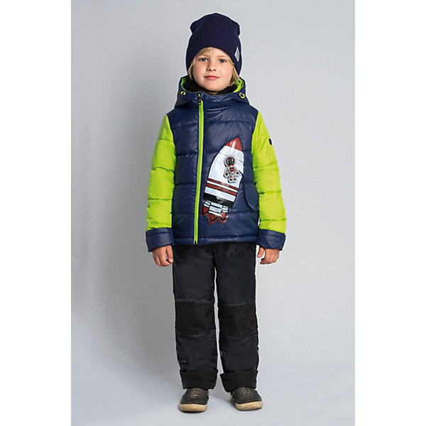 Комплект BOOM by Orby для мальчикаВерхняя одежда<br>Характеристики товара:<br><br>• цвет: т.синий/салатовыйчерный;<br>• ткань верха (куртка): болонь pu;<br>• ткань верха (брюки):  таффета pu milky (100% ПЭ);<br>• отделка (брюки):  таслан (100% ПЭ);<br>• подкладка (куртка): поликоттон; ПЭ пуходержащий (90% хлопок, 10% ПЭ);<br>• подкладка (брюки): ПЭ пуходержащий (100% ПЭ);<br>• утеплитель: Flexy Fiber 150 г/м2;<br>• сезон: демисезон;<br>• температурный режим: от -5 до +10°С;<br>• высокая горловина;<br>• большая нашивка  ракета  спереди на куртке;<br>• светоотражающие элементы;<br>• эластичные манжеты;<br>• два кармана;<br>• манжеты-отвороты;<br>• усиленная защита коленей от истирания;<br>• тип куртки: стеганая;<br>• капюшон: съемный, утяжка на шнурке;<br>• страна бренда: Россия.<br><br>Комплект: куртка и брюки  BOOM by Orby для мальчика выполнен из практичной, качественной и износостойкой ткани, болонь и таффета с водоотталкивающими пропитками. Идеален на  межсезонье, в актуальных цветах с космической тематикой в дизайне. Манженты-отвороты на курточке и брючках помогут комплекту прослужить не один сезон.  Гипоаллергенный утеплитель куртки защитит в прохладную погоду.  Зона коленей усилена износостойкой тканью таслан для защиты от истирания. Комплект подойдет и для прогулок и для школы/сада. <br><br>Комплект: куртку и брюки  BOOM by Orby для девочки можно купить в нашем интернет-магазине.