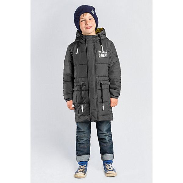 Пальто BOOM by Orby для мальчикаВерхняя одежда<br>Характеристики товара:<br><br>• цвет: графит;<br>• ткань верха: таффета матовая (100% ПЭ);<br>• подкладка: поликоттон; ПЭ пуходержащий (90% хлопок, 10% ПЭ);<br>• утеплитель: Flexy Fiber 150 г/м2;<br>• сезон: демисезон;<br>• температурный режим: от -5 до +10°С;<br>• регулируемая талия на шнурке;<br>• два кармана;<br>• высокая горловина; <br>• особенности:нашивка на груди;<br>• тип куртки: пальто;<br>• капюшон: с утяжкой на шнурке, несъемный;<br>• страна бренда: Россия.<br><br>Удлиненное пальто BOOM by Orby для мальчика выполнена из практичной и износостойкой ткани, с оригинальными дизайнерскими элементами, в актуалных цвета сезона. Гипоаллергенный утеплитель защитит в прохладную погоду. Модель обязательно станет любимицей детей и родителей, ведь в неё сочетаются стиль, доступность и практичность. Идеально сочетается с вещами в стиле casual и спорт: джинсы или брюки чинос, полуботинки и шапки-бини. Подойдет как для прогулок, так и для школы.<br><br>Пальто BOOM by Orby (Бум бай Орби) для мальчика можно купить в нашем интернет-магазине.<br>Ширина мм: 356; Глубина мм: 10; Высота мм: 245; Вес г: 519; Цвет: серый; Возраст от месяцев: 156; Возраст до месяцев: 168; Пол: Мужской; Возраст: Детский; Размер: 164,170,158,152,146,140,134,128,122,116,110,104,98; SKU: 7709465;
